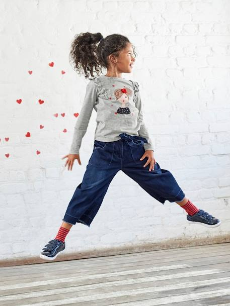 Cropped Denim Trousers for Girls BLUE DARK SOLID