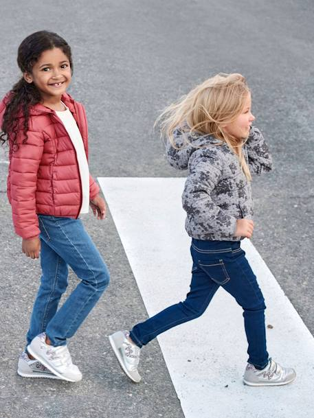 Light Padded Jacket with Hood, for Girls GREY LIGHT ALL OVER PRINTED+PINK DARK SOLID
