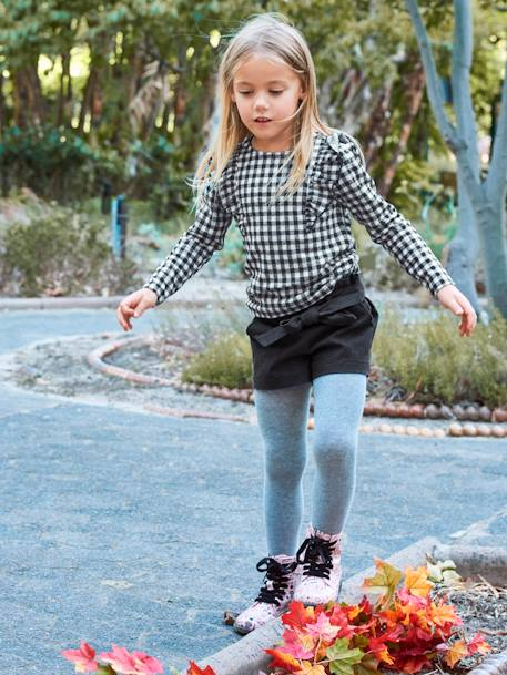 Long-Sleeved Top with Frills for Girls BLACK DARK CHECKS