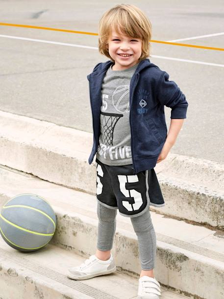 Fleece Bermuda Shorts + T-Shirt for Boys GREY DARK MIXED COLOR
