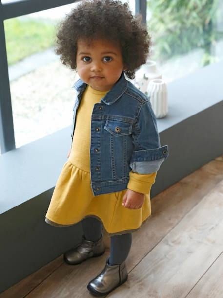 Denim Jacket for Baby Girls with Embroidery on the Back BLUE DARK WASCHED
