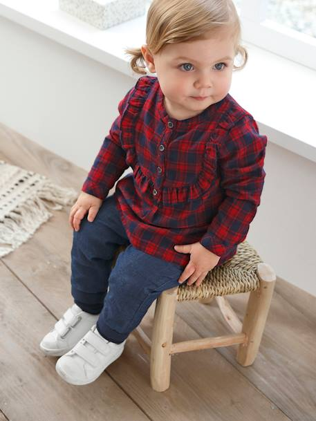 Tartan Blouse for Baby Girls RED DARK CHECKS