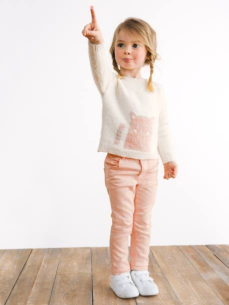 NARROW Hip Slim Trousers for Girls BLUE DARK SOLID WITH DESIGN+PINK LIGHT SOLID WITH DESIGN