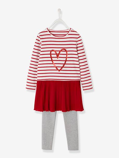 Dress + Leggings Outfit for Girls BLUE DARK STRIPED+RED DARK STRIPED