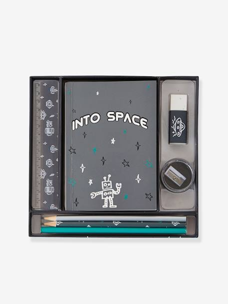 Stationery Set for Boys, Into space GREY DARK SOLID WITH DESIGN