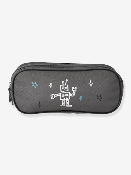 Double-Compartment Pencil Case for Boys, Into Space GREY DARK SOLID WITH DESIGN