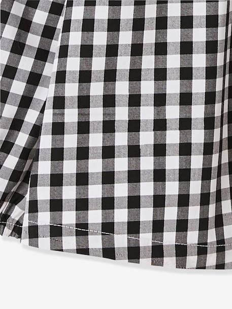 Smock for Girls BLACK DARK CHECKS+RED LIGHT SOLID WITH DESIGN
