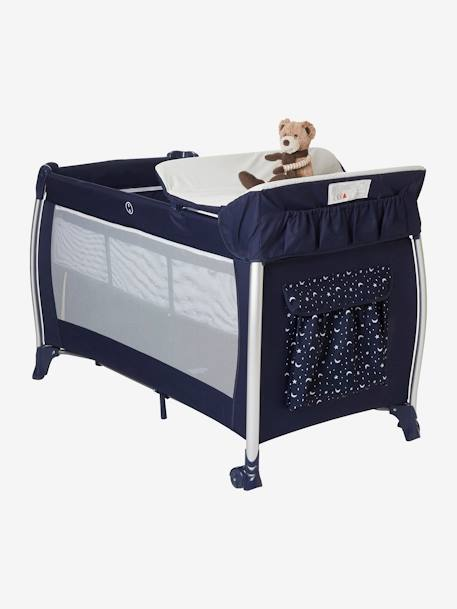 Foldable Travel Cot, Mobi'bed by VERTBAUDET BLUE DARK SOLID WITH DESIGN+Grey/star print