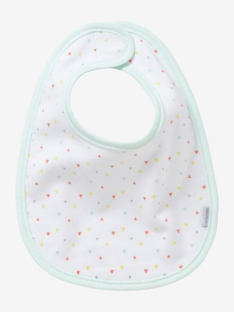 Pack of 7 Organic Bibs for Babies WHITE LIGHT SOLID WITH DESIGN