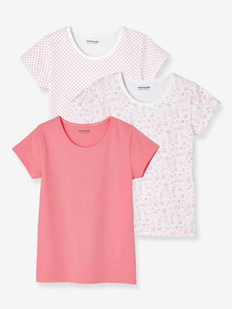Pack of 3 Short-Sleeved T-Shirts for Girls PINK MEDIUM 2 COLOR/MULTICOL