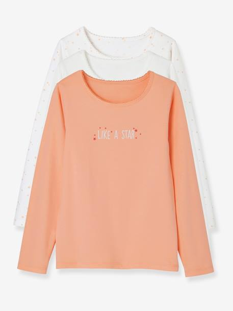 Pack of 3 Long-Sleeved Stretch Tops for Girls ORANGE MEDIUM 2 COLOR/MULTICOL