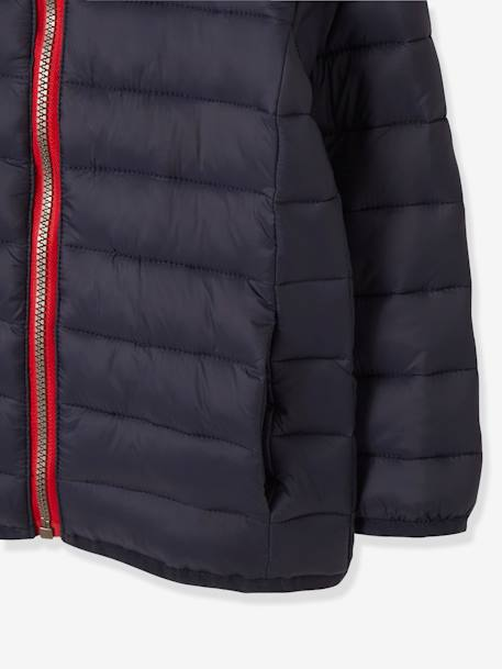 Lightweight Padded Jacket with Hood for Boys BLUE DARK SOLID+BLUE MEDIUM SOLID+GREEN BRIGHT SOLID WITH DESIG+GREY MEDIUM SOLID+RED DARK SOLID+YELLOW DARK SOLID