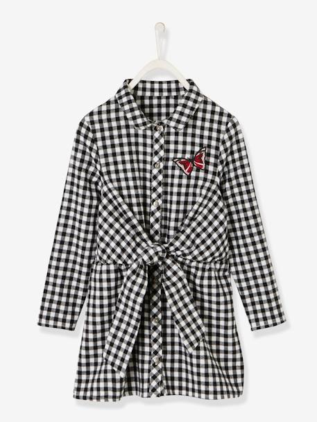 Gingham Dress for Girls BLACK DARK CHECKS