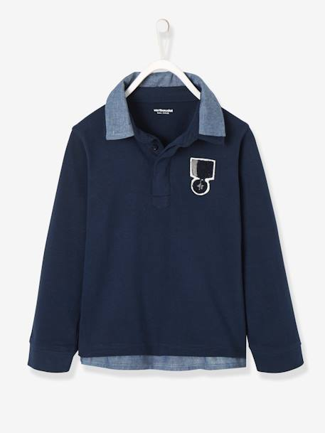 Long-Sleeved 2-in-1 Polo Shirt for Boys BLUE DARK SOLID WITH DESIGN+GREY LIGHT MIXED COLOR