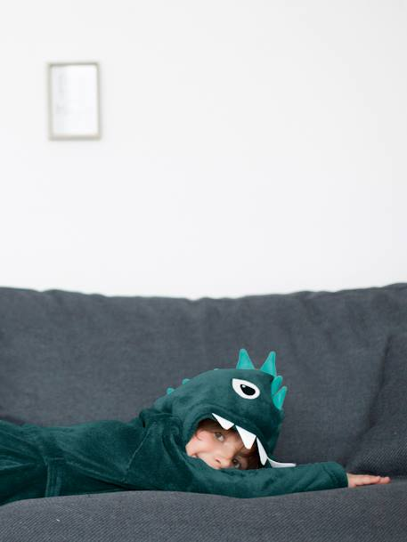 Dinosaur Dressing Gown for Boys GREEN DARK SOLID WITH DESIGN
