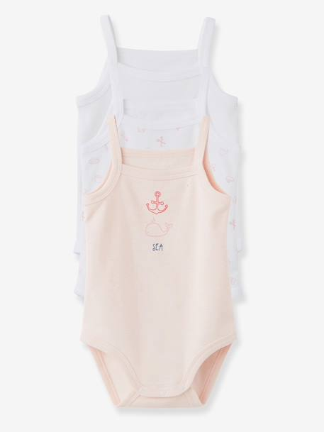 Pack of 3 Baby Bodysuits, Thin Straps, Yacht Motif, Organic Collection Pale pink+PINK MEDIUM 2 COLOR/MULTICOL