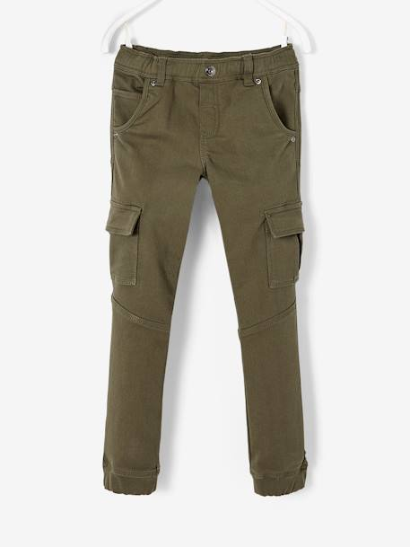 Cargo Trousers for Boys BLACK DARK SOLID+GREEN DARK SOLID