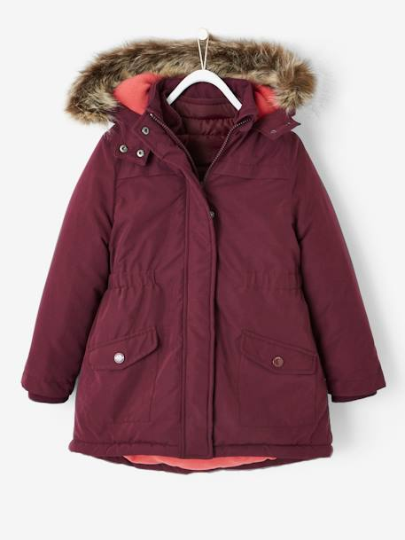 48f1d1ec0e87 4-in-1 Parka with Fleece Lining for Girls - brown dark solid