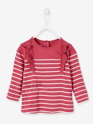 Baby-T-shirts & Roll Neck T-Shirts-T-Shirts-Striped Top for Baby Girls, I am toute petite