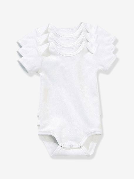 Baby Pack of 3 Short-Sleeved White Bodysuits in Pure Cotton White pack