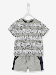 Baby-Outfits-T-Shirt & Bermuda Shorts Outfit with Speech Bubbles and Stripes, for Babies