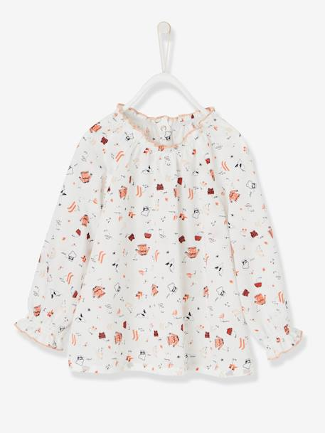 Baby Girls' Printed Blouse & Cord Skirt with Braces Outfit Set WHITE LIGHT ALL OVER PRINTED