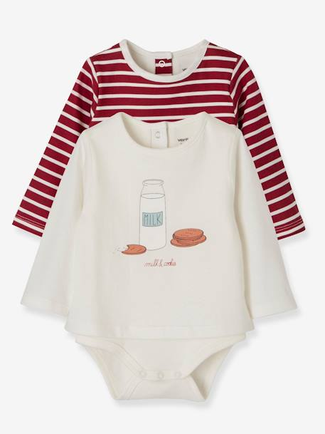 Pack of 2 Bodysuit-Tops with Motif, for Newborn Babies GREY LIGHT TWO COLOR/MULTICOL+RED DARK 2 COLOR/MULTICOLOR