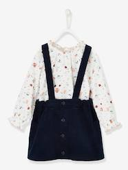 Baby-Outfits-Baby Girls' Printed Blouse & Cord Skirt with Braces Outfit Set