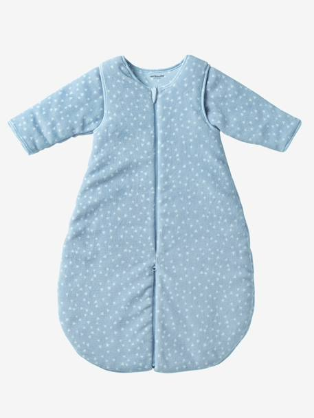 Microfibre Sleep Bag With Detachable Sleeves, For Strolling Blue/triangles+Pink/stars