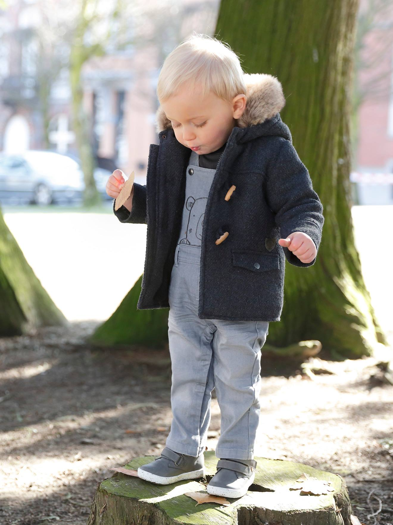 5bab377e67bc Woollen Duffle Coat for Baby Boys - grey dark mixed color
