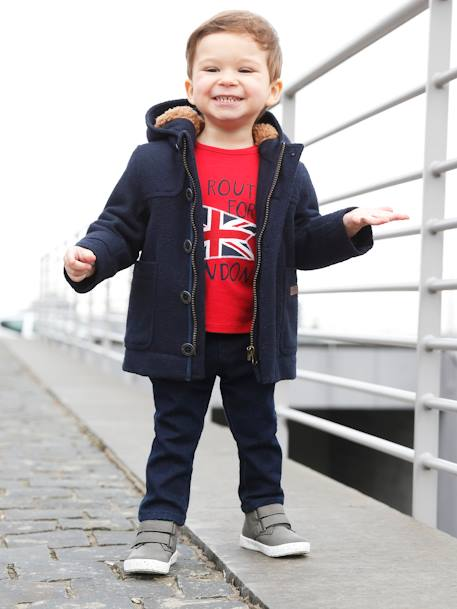 Baby Boys' Padded Duffle Coat with Warm Lining Navy+RED DARK SOLID+YELLOW DARK MIXED COLOR