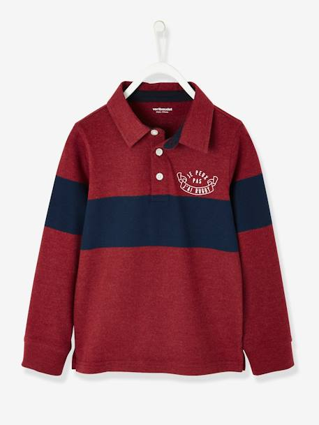 Long-Sleeved Polo Shirt for Boys BLUE DARK SOLID WITH DESIGN+GREY LIGHT MIXED COLOR+RED DARK SOLID WITH DESIGN