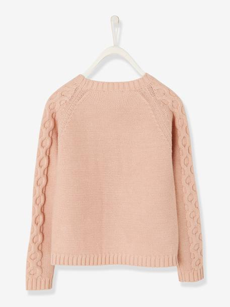 Cable-Knit Jumper for Girls ORANGE MEDIUM SOLID+PINK LIGHT SOLID