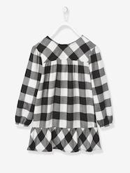 Girls-Dresses-Chequered Dress with Frilled Hem for Girls