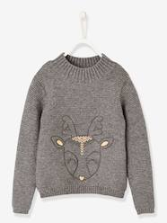 Girls-Embroidered Deer Pullover for Girls