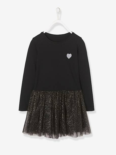 3-in-1 Dress for Girls BLACK DARK SOLID WITH DESIGN+GREY LIGHT SOLID WITH DESIGN+PINK LIGHT SOLID WITH DESIGN