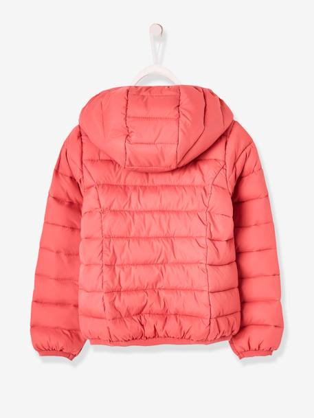 Light Padded Jacket with Hood, for Girls BLUE DARK ALL OVER PRINTED+PINK DARK SOLID