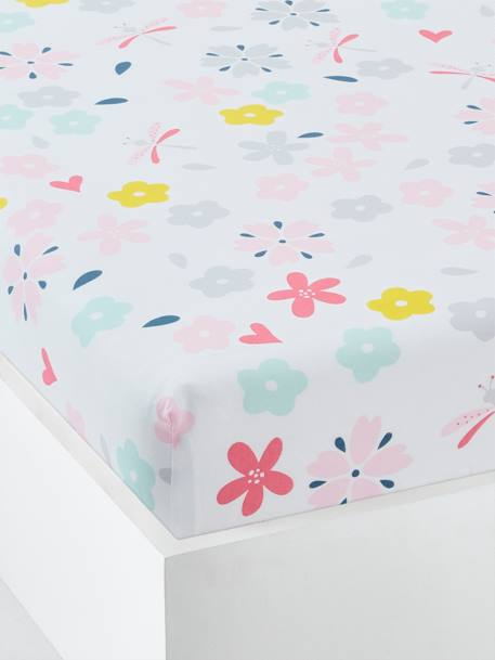 Children's Fitted Sheet, Flowers & Dragonflies Theme WHITE LIGHT ALL OVER PRINTED