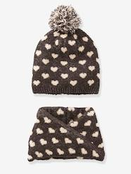 Girls-Accessories-Beanie + Snood with Hearts for Girls