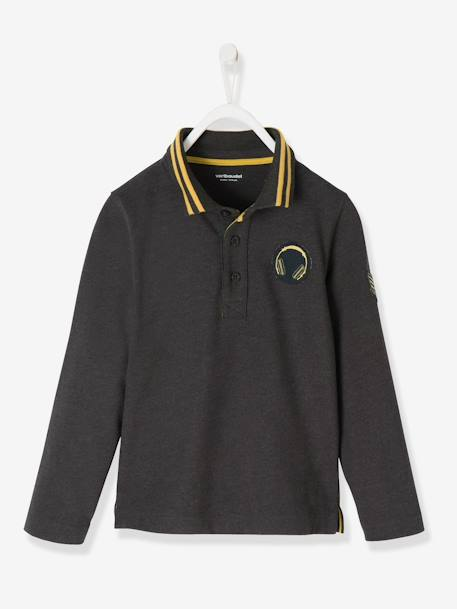 Long-Sleeved Polo Shirt for Boys BLACK DARK MIXED COLOR