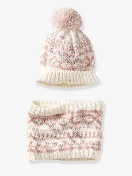 Jacquard-Type Beanie & Snood Set for Babies BEIGE MEDIUM ALL OVER PRINTED+WHITE LIGHT ALL OVER PRINTED