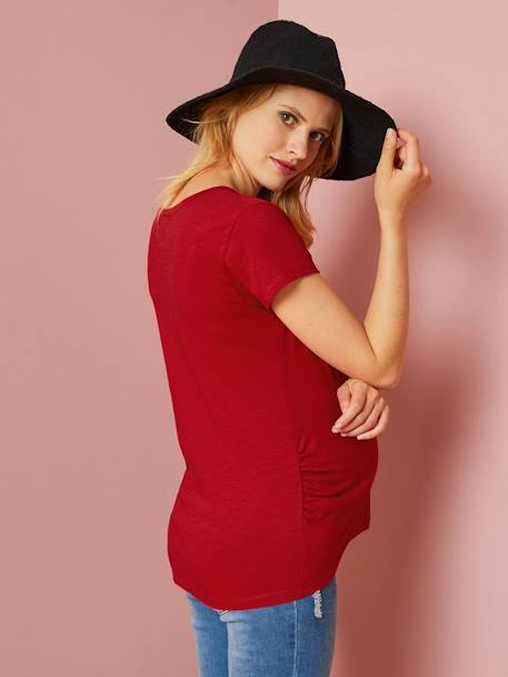 Grandad-Style Maternity & Nursing T-Shirt RED DARK SOLID+WHITE LIGHT SOLID
