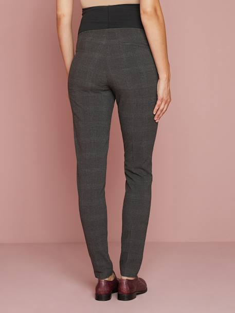 Chequered Maternity Trousers GREY DARK SOLID