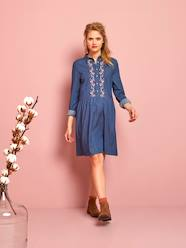 Maternity-Embroidered Denim Maternity Dress