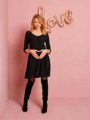Maternity-Loose-Fitting Maternity Dress with Buttoned Front