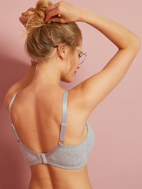Pack of 2 Soft Padded Nursing Bras Black + grey marl+PINK LIGHT SOLID+WHITE LIGHT SOLID