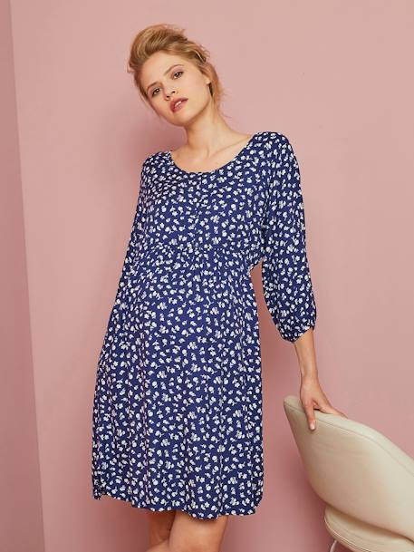 Floral Print Maternity & Nursing Dress BLUE DARK ALL OVER PRINTED