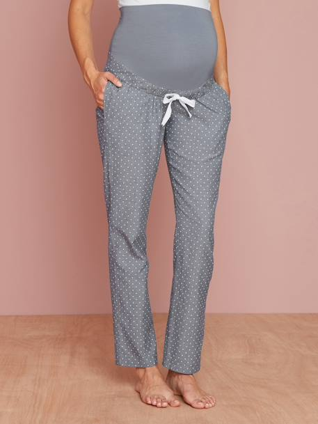 Chambray Maternity Snuggle Trousers BLUE MEDIUM ALL OVER PRINTED