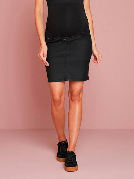 Coated Straight-Cut Maternity Skirt BLACK DARK SOLID
