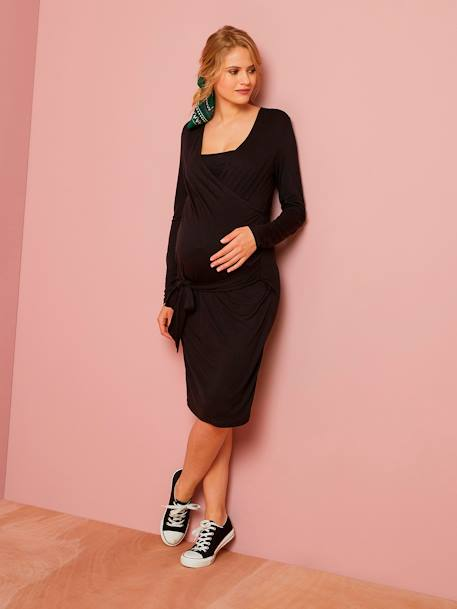 Wrapover Nursing Dress in Jersey Knit BLACK DARK SOLID